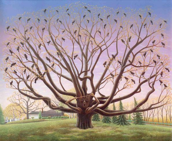 """Spreading Oak. Source: """"Who Goes to the Park"""", book by Warabé Aska, 1984"""