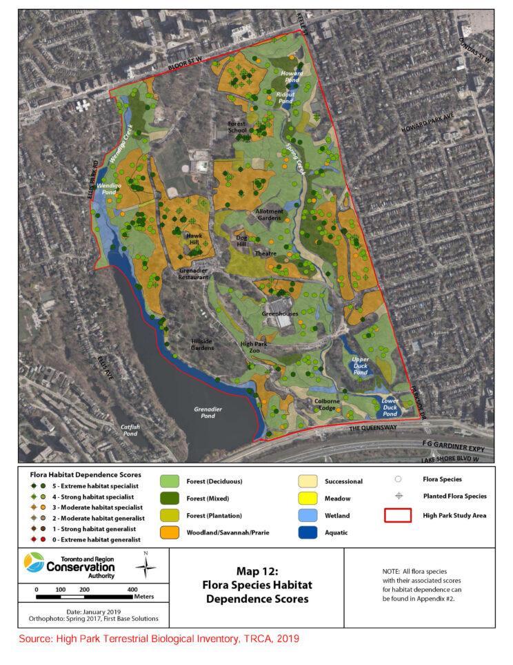 Map 12, High Park Habitat Types. Source: TRCA Inventory 2019