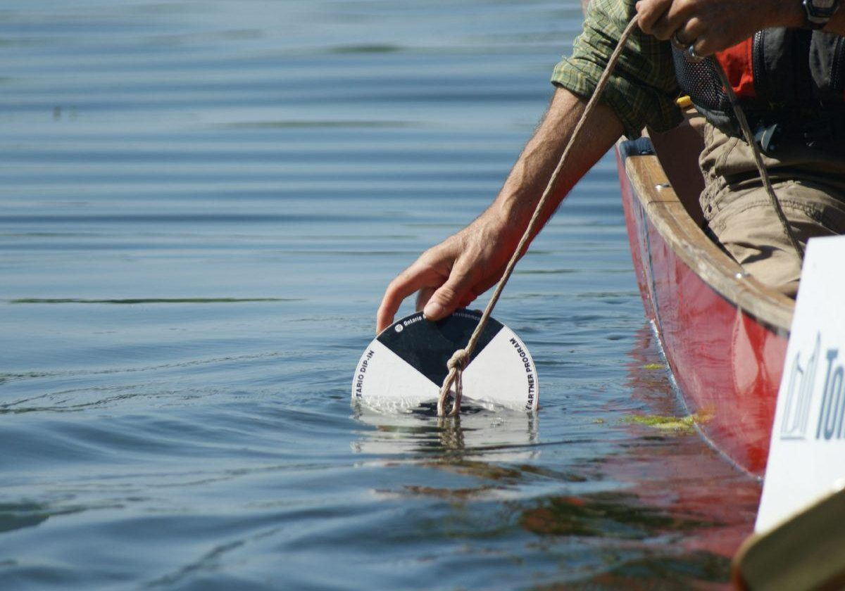 Using the Secchi Disk. Photo: Katherine Pawling